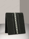 Implora Long Pearl Black Stingray Billfold Wallet