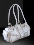 Implora Natural Cobra Skin Woven Satchel Bag