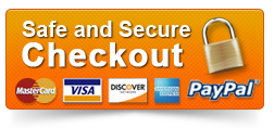 We accept major credit cards and Paypal Safe and Secure Checkout